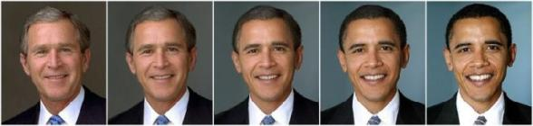 Un morphing entre George Bush et Barack Obama - morphing de bush a obama
